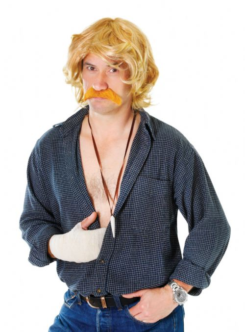 Mens Celebrity & Tash Set Wig TV Celeb Fancy Dress Accessory